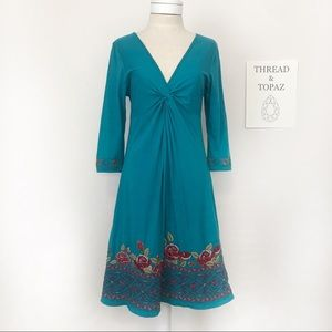 Johnny Was Turquoise Blue Knit Embroidered Dress